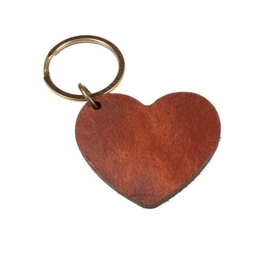 Alphabet Keychain Keychain WillLeatherGoods HEART Brown