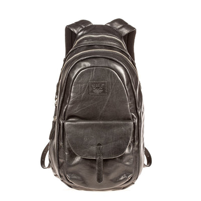 All Weather Leather Front Flap Pocket Backpack WillLeatherGoods Black