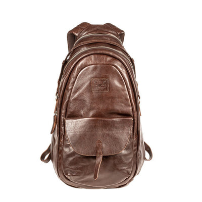 All Weather Leather Front Flap Pocket Backpack WillLeatherGoods Brown