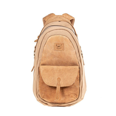 All Weather Canvas and Leather Front Flap Pocket Backpack WillLeatherGoods Tan