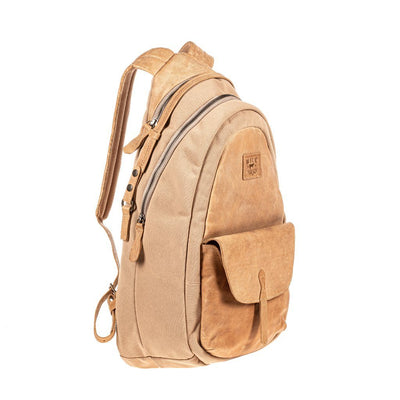 All Weather Canvas and Leather Front Flap Pocket Backpack WillLeatherGoods