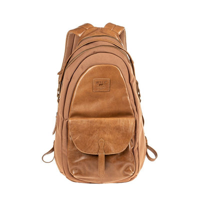 All Weather Canvas and Leather Front Flap Pocket Backpack WillLeatherGoods Rust
