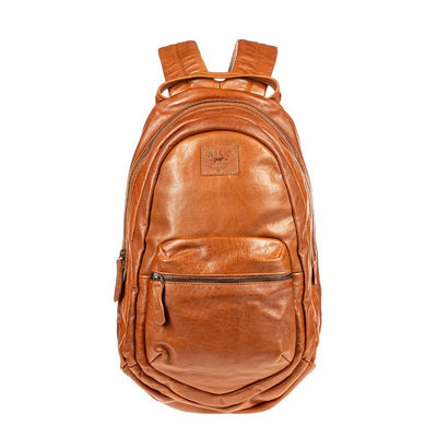 All Weather Leather Front Zip Pocket Backpack WillLeatherGoods Tan