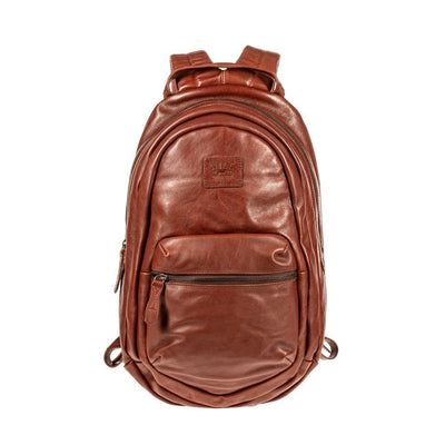 All Weather Leather Front Zip Pocket Backpack WillLeatherGoods Cognac