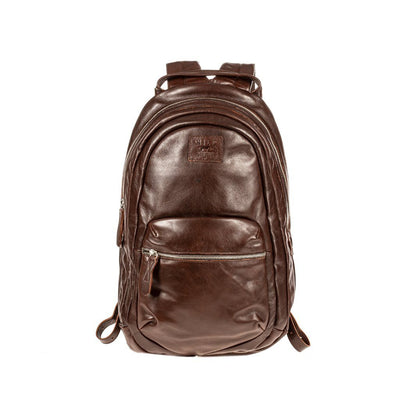 All Weather Leather Front Zip Pocket Backpack WillLeatherGoods Brown