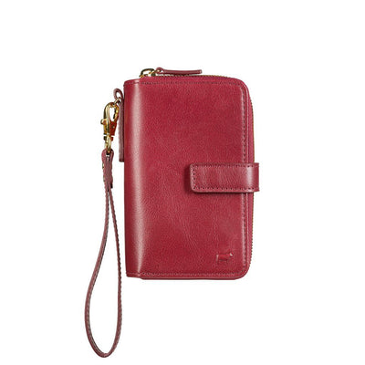 Classic French Wristlet Red with Zip Around Closure and Front Strap