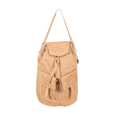 All Weather Embossed Leather with Double Pockets Backpack WillLeatherGoods Tan