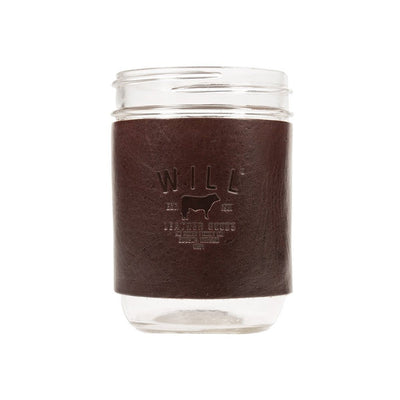 Mason Jar Sleeve Brown with Will Logo