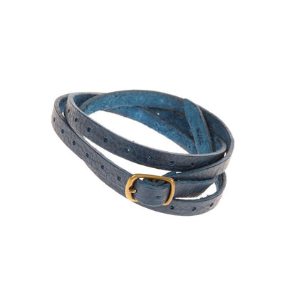 Thin Perforated Cuff Cuff WillLeatherGoods Blue
