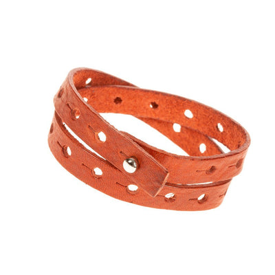 Wide Perforated Cuff Cuff WillLeatherGoods Orange