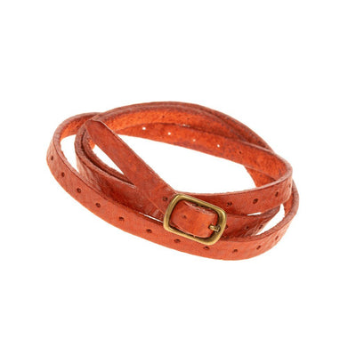 Thin Perforated Cuff Cuff WillLeatherGoods Orange
