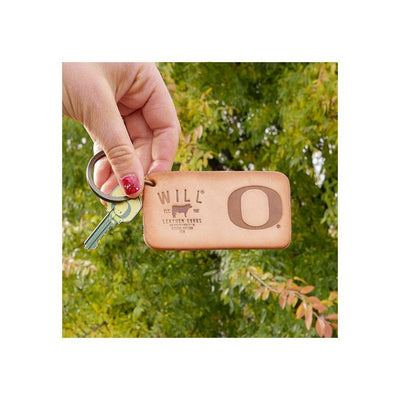 Debossed University of Oregon O Will Logo Natural Leather Keychain