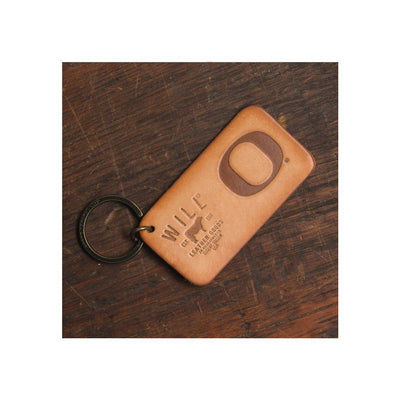 Debossed University of Oregon O Will Logo Leather Keychain