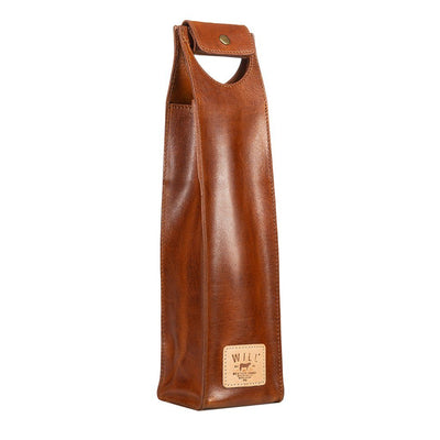 Single Leather Wine Case Beverage WillLeatherGoods Tan