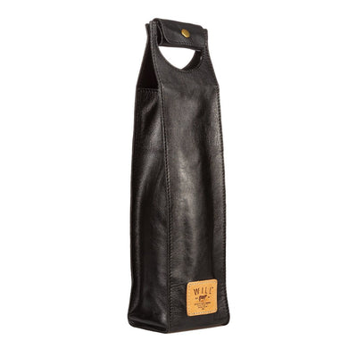 Single Leather Wine Case Beverage WillLeatherGoods Black