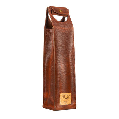 Single Leather Wine Case Beverage WillLeatherGoods Cognac