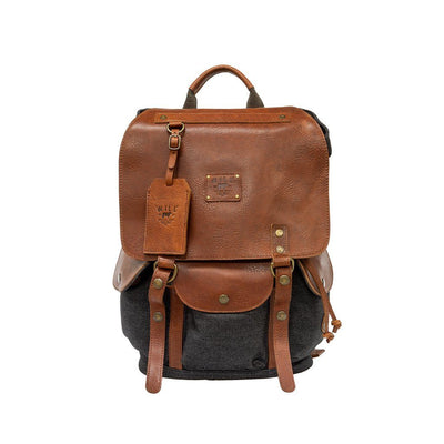 Lennon Backpack Backpack WillLeatherGoods Charcoal Denim/Cognac