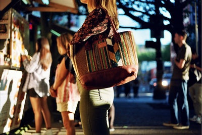 Woman Shopping Carrying Oaxacan Tote on Shoulder