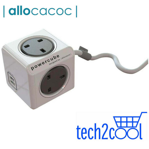 Allocacoc PowerCube Grey with 4 Outlets, 2 USB Ports, 3 M Cord and Surge Protection
