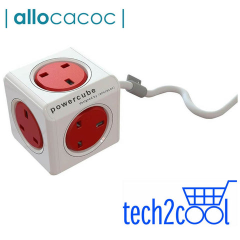 Allocacoc PowerCube Red with 5 Outlets, 1.5 M Cord and Surge Protection
