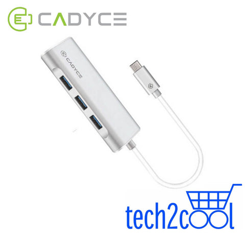 Cadyce CA-C3HE USB-C to 3 Port USB 3.0 Hub with Gigabit Ethernet Adapter