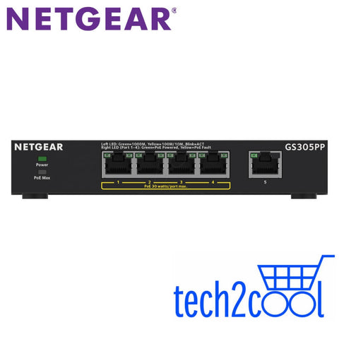 Netgear GS305PP 5-Port Gigabit Ethernet Unmanaged High-Power PoE+ Switch with 4 PoE+ Ports