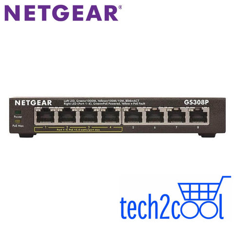 Netgear GS308P 8-Port Gigabit Ethernet Unmanaged Switch with 4 PoE Ports