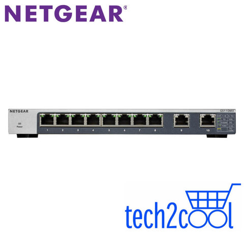Netgear ProSafe GS110MX 8-Port Gigabit Plus Unmanaged Switch with 2 10-GigabitMulti-Gigabit Uplink