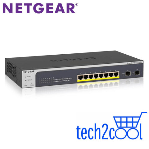 Netgear ProSafe GS510TLP 8-Port Gigabit PoE+ Smart Managed Pro Switch with 2 Gigabit SFP Ports