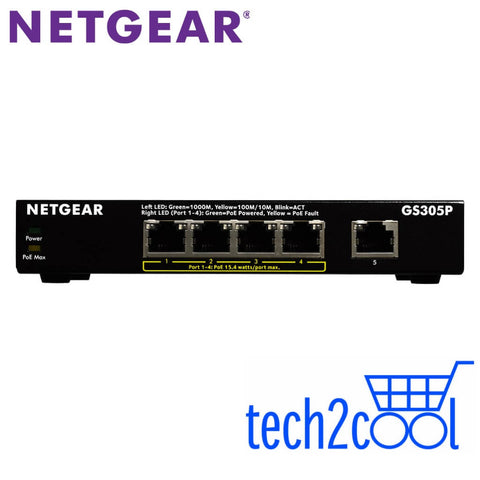 Netgear GS305P 5-Port Gigabit Ethernet Switch with 4 PoE Ports