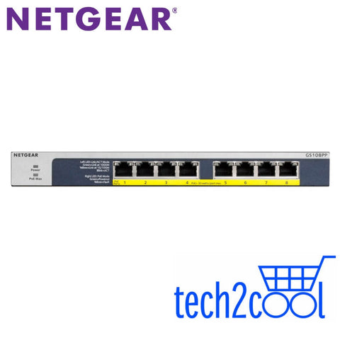 Netgear ProSafe GS108PP 8-Port Full PoEPoE Plus Gigabit Rackmountable Unmanaged Switch