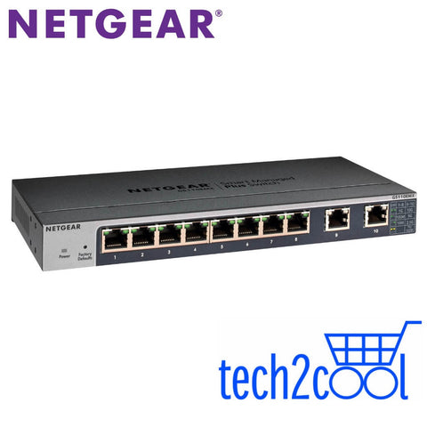 Netgear ProSafe GS110EMX 8-Port Gigabit Plus Switch with 2 10-GigabitMulti-Gigabit Uplink
