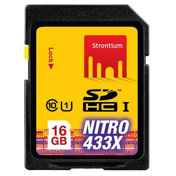 Strontium 16GB SDHC UHS-1 Nitro 433X Flash Memory Card Only