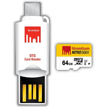 Strontium 64GB MicroSDXC UHS-1 Nitro 566X Flash Memory Card with OTG Card Reader