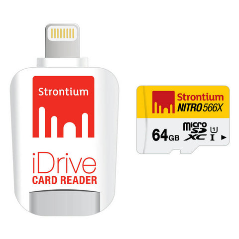 Strontium 64GB Nitro iDrive Card Reader With Lightning Connector