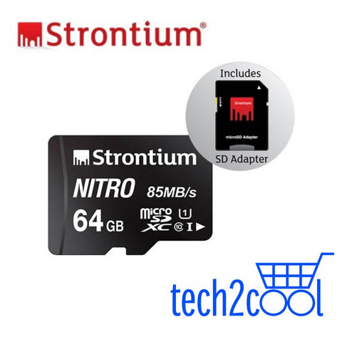 Strontium Nitro 64GB UHS-I Micro SDHC/XC Memory Card with SD Adapter