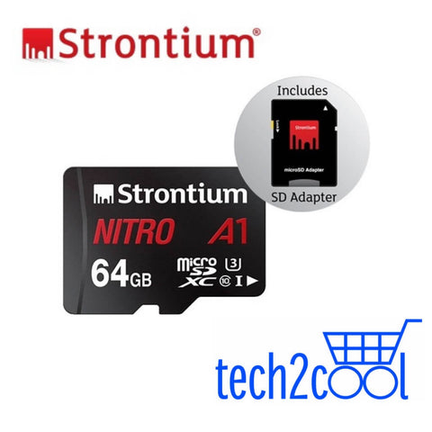 Strontium Nitro A1 64GB UHS-I Micro SDXC Memory Card with SD Adapter