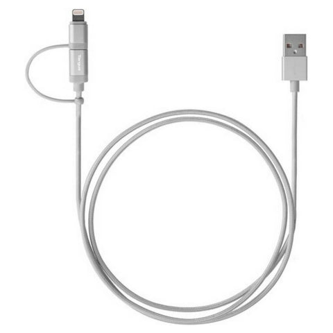 Targus ACC99505AP Silver Aluminium Lightning and Micro USB 2-in-1 Cable