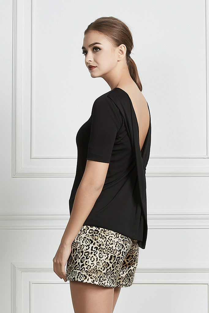 Black Open-back stretch top