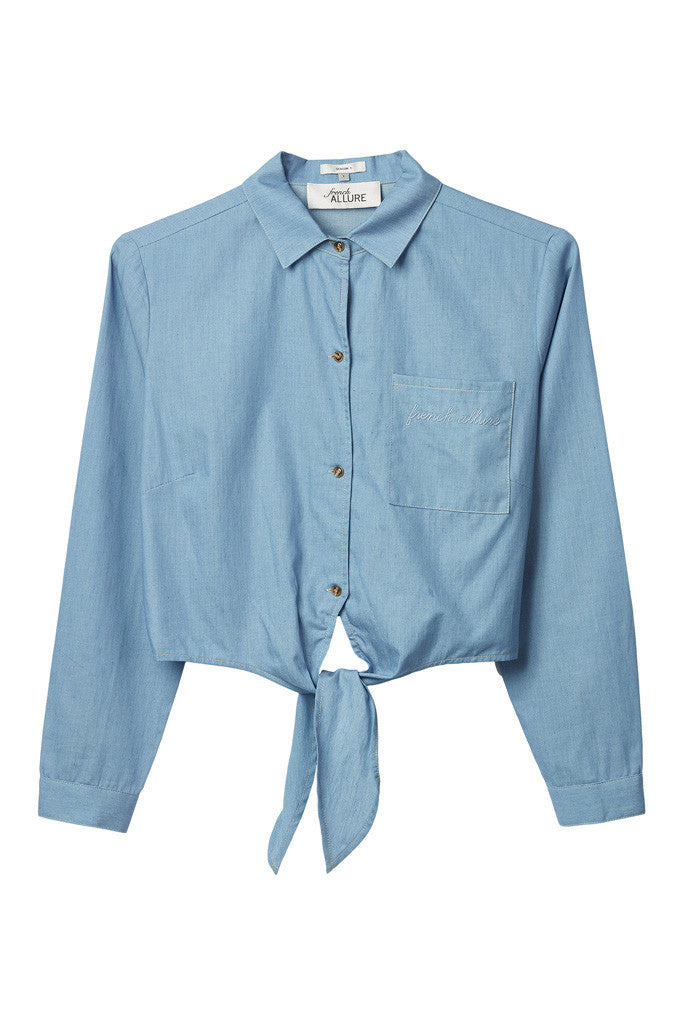 Tie-front chambray casual crop shirt with embroidery
