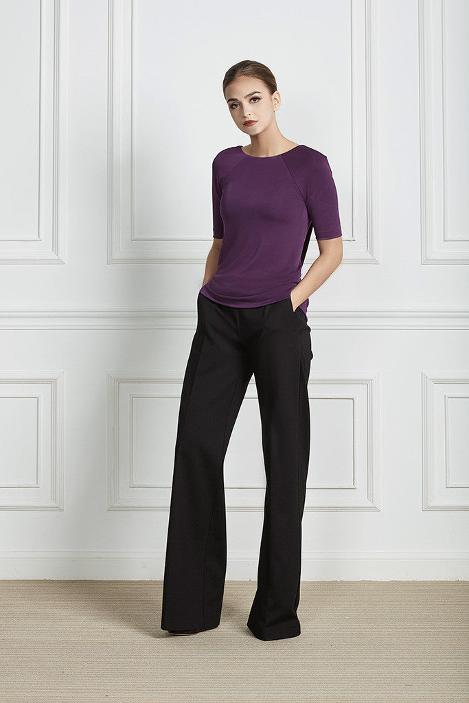 Purple Open-back stretch top
