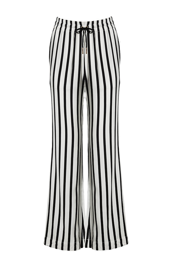 Striped lounge-style wide-leg pants