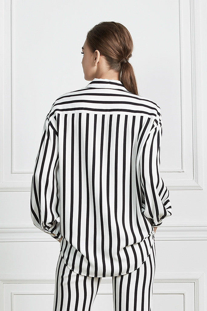 Striped lounge-style oversized collar shirt