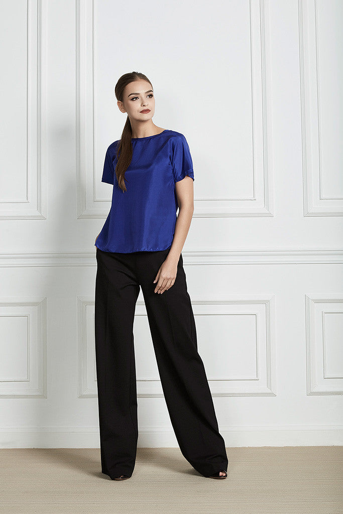 Blue 100% Silk raw-edge short sleeves top
