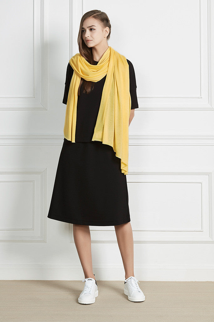 Yellow Cotton and wool oversized scarf