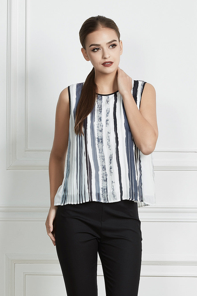 Stripe Print Pleated Sleeveless Flowing Top
