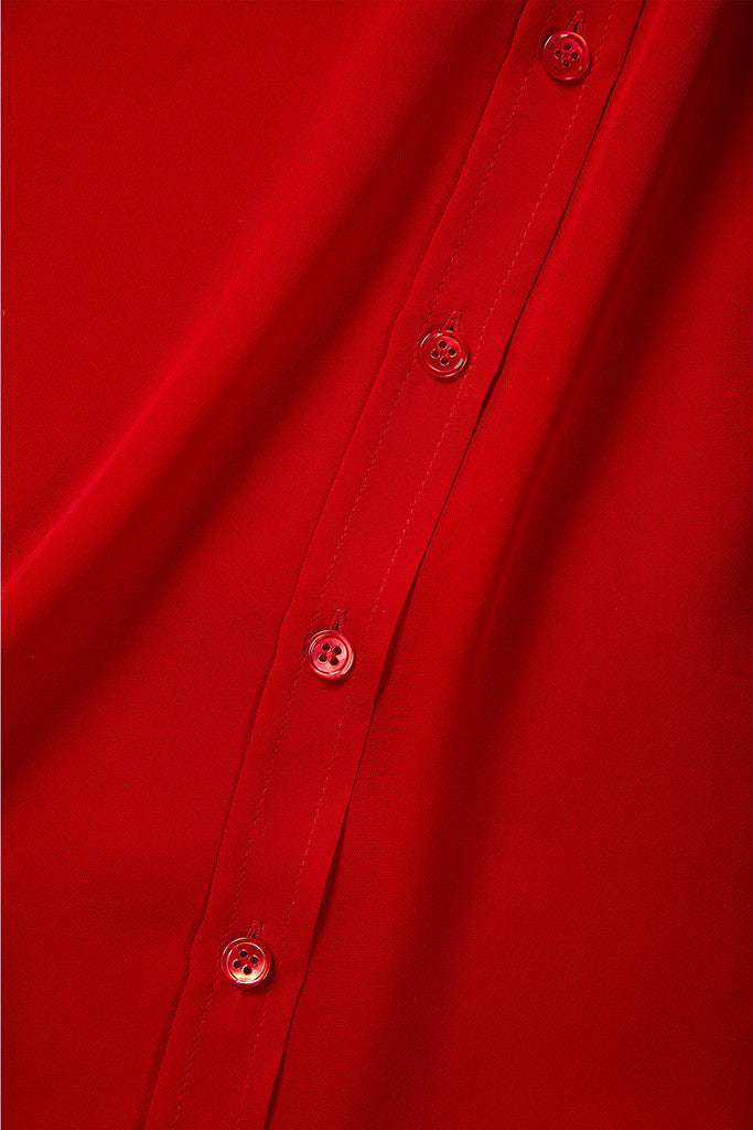 Red 100% Silk collar shirt