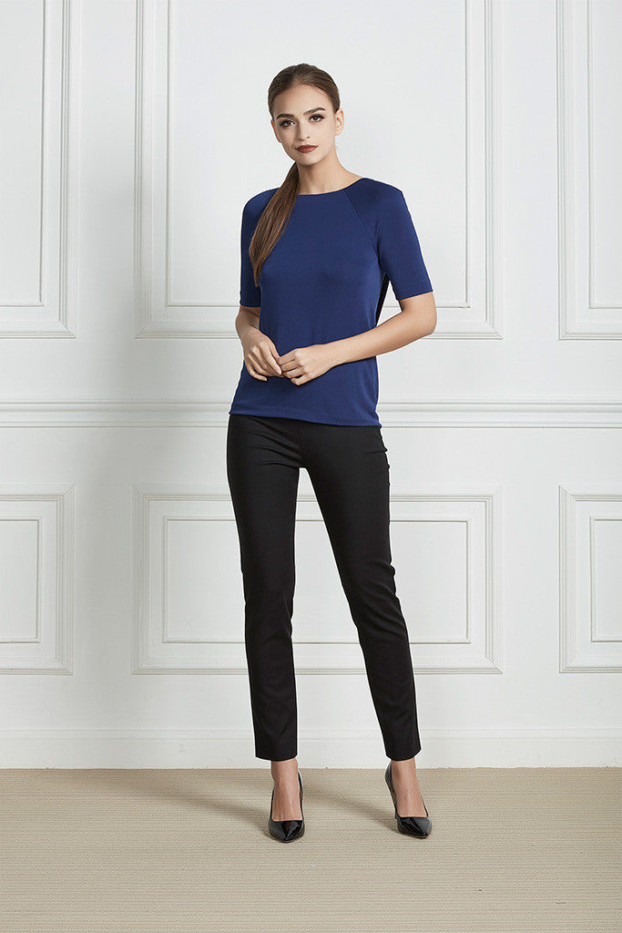 Blue Open-back stretch top