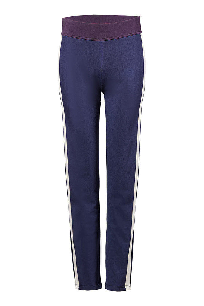 Cotton-jersey track pants with stripe on side