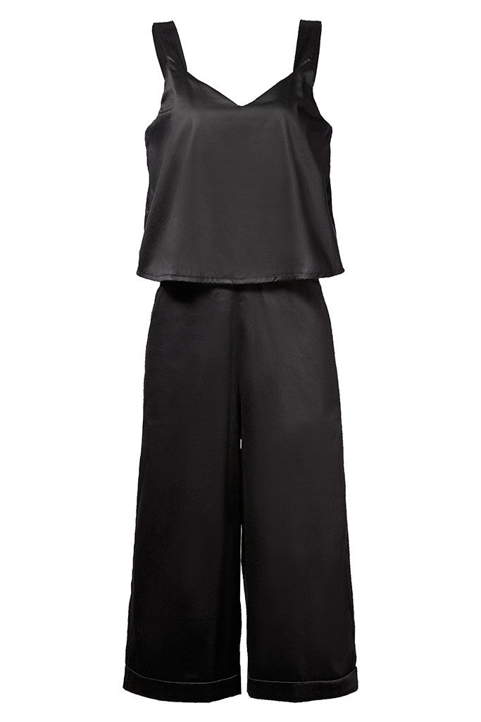 Black Cotton-satin loose fit cropped jumpsuit with pockets